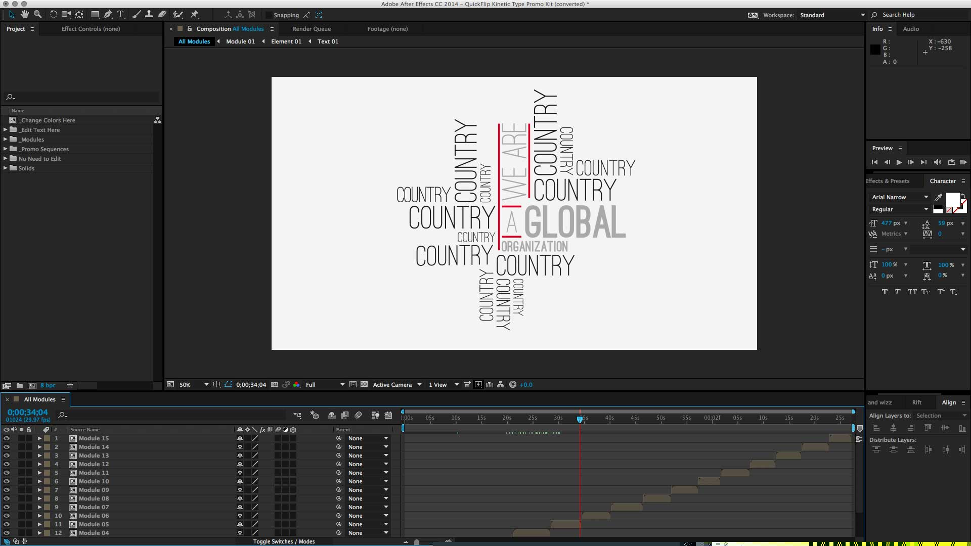 After Effects Project File loaded with the intended font